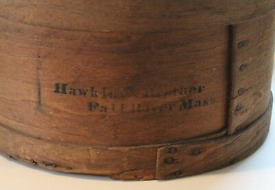 """1860s-70s Large """"Hawkins & Brother Fall River Mass"""" Stenciled Wooden Pantry Box"""