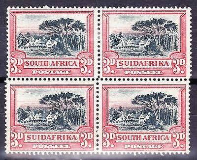 SouthAfrica1931 3d MIS-ALIGNED PERFORATIONS ON BLOCK OF 4 SG45/B MH/MNH Cv£330+