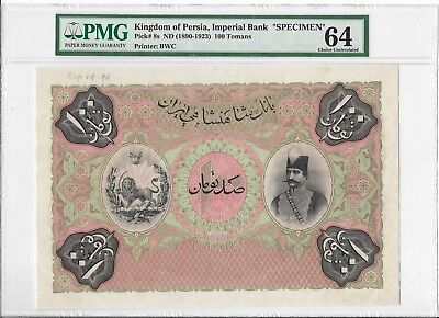 Kingdom of Persia, Imperial Bank - 100 Tomans, nd (1890-1923). Specimen. PMG 64.