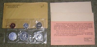 United States Mint Treasury Department 1963-P Five Coin Proof Set & Papers Lot