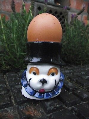 Vintage Quirky Egg Cup Bulldog Clown Dog with Ruff : -) & Top Hat ( Bonzo ?)