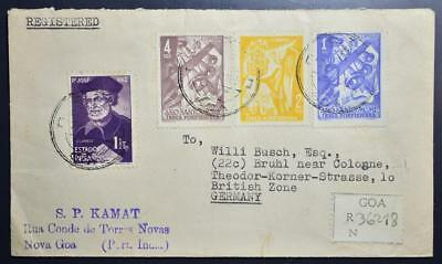 Portuguese INDIA 1951 RARE Reg-Cover GOA to GERMANY , Portugal, Indien,England