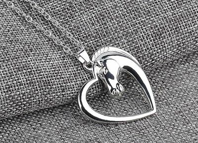 """HORSE in a HEART Pendant New Necklace 18"""" BOX Chain Gift Boxed Ready 2 Wrap"""