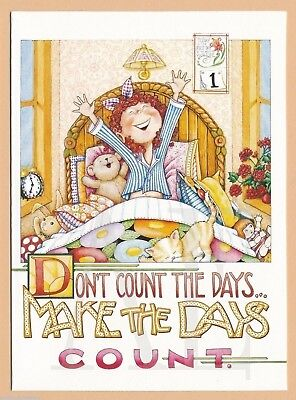 ME06 MARY ENGELBREIT 4 Note Cards ~ Don't count the days, Make the Days Count