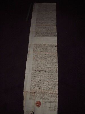 1657 Legal Document Oliver Cromwell Lord Protector Ayr Scotland Red Wax Seal