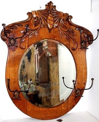 Antique 19Th C. Carved Oak Wall Mount Hat & Coat Rack W/ Beveled Glass Mirror.