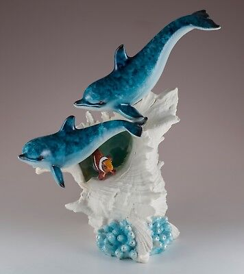 """Pair of Dolphins With Clown Fish In Seashell Figurine 9"""" High Resin New In Box!"""
