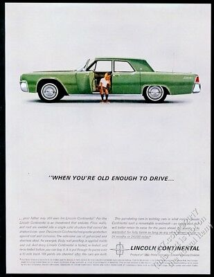 1962 Lincoln Continental green car little boy photo When You're Old Enough ad