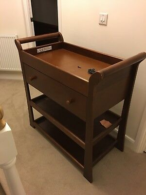 Wooden Baby Changer, Wooden baby changing Unit, dark wood with drawer & shelf.