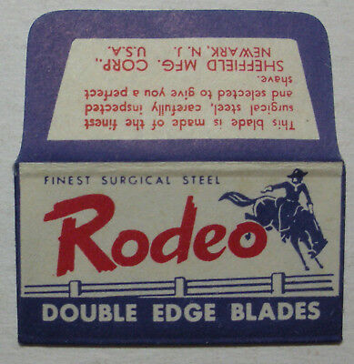 Vintage DE Made in USA Razor Blade RODEO Horse & Rider Cowboy