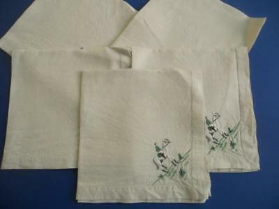 5 Vintage Raised Embroidered Irish Linen Napkins/Serviettes - Horses, Racing etc