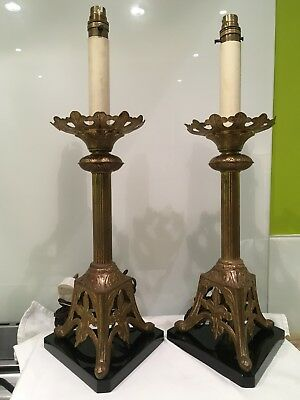 Pair Of Antique Gilt Brass French Gothic Ecclesiastical Table Lamps