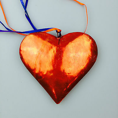 FREE SHIPPING Painted Tin Heart Ornament – Mexican Folk Art