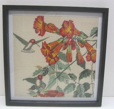 Framed Needlepoint Canvas Textile Fiber Art Hummingbirds & Trumpet Flowers
