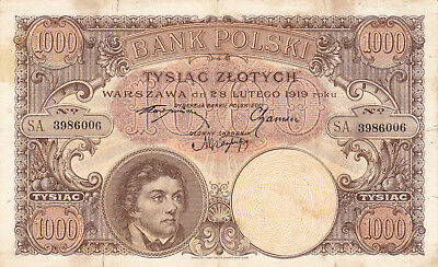 1000 Zlotych Fine Unissued Extra Rare Banknote From Poland 1919!pick-59