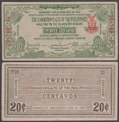 1942 Negros Occidental Currency Committee Philippines 20 Centavos