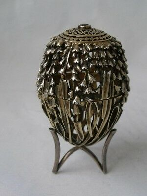 Quality Cast Pierced Sterling Silver Gilt Egg on Stand 1988/ 69 g