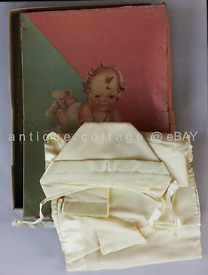 1940? vintage BABY BLANKET TOP HAT BOX SET infant new born LULLABY in TWILIGHT