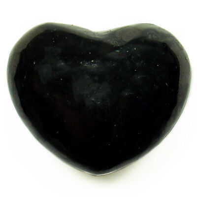 """CARVED - 1.25"""" SHUNGITE Crystal Heart w/Pouch & Description- Healing Reiki Stone"""