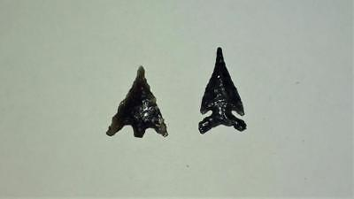 2 Obsidian Northern California Authentic Arrowheads ~ Wintu / Pit River