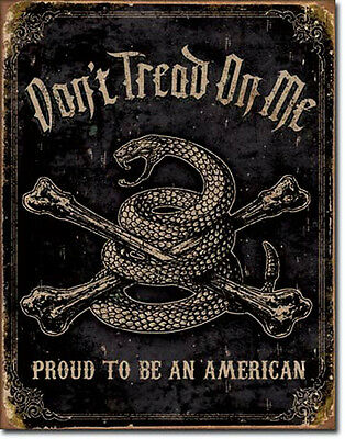 Patriotic Sign Proud American Don't Tread on Me Snake Rustic New Metal Tin USA