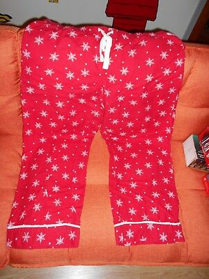 Gilligan & OMalley Holiday Red White Snowflake Flannel Pajama Pants, Size XXL