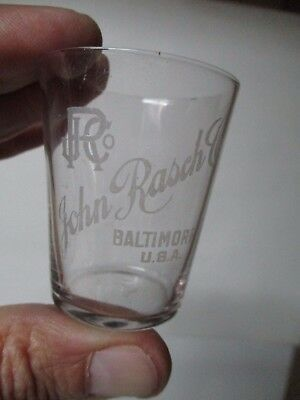 Vintage Etched Shot Glass - JOHN RASCH CO - BALTIMORE MARYLAND