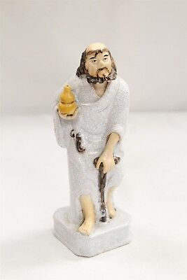 Chinese Porcelain White Crackle Bearded Man with Can Holding Vase Figurine