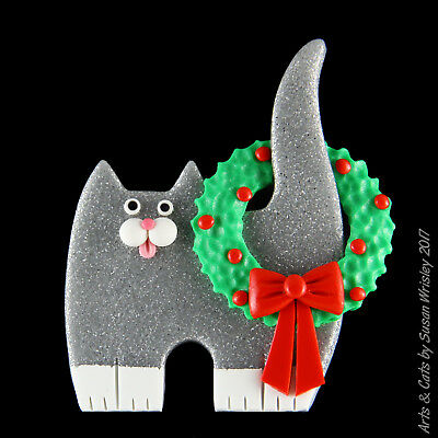 Standing Glittery Silver Tuxedo Kitty Cat,  Christmas Wreath on Tail Pin - SWris