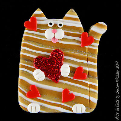 Gold Tabby Kitty Cat Pin & Red Hearts Valentines Day Pin - SWris