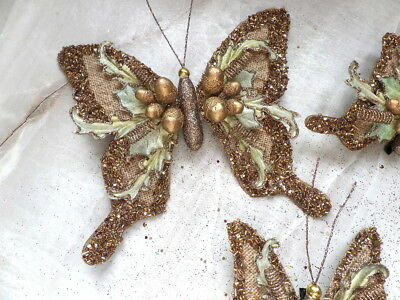 Nwt Katherine'S Collection Wheat Butterfly Clip Ornaments 1 M 2 S Copper Sequins