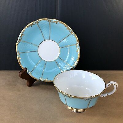 Lovely Paragon Baby Blue Tea Cup & Saucer Wide Mouth Gold