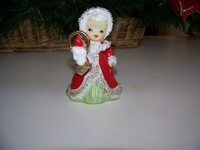 Vintage Lefton Spaghetti Trimmed Christmas Angel Bell with Candle Figurine