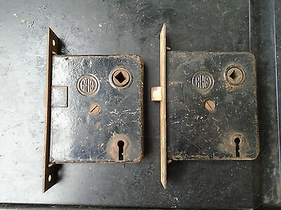 (2)Ant late 19th early 20th century RHCo. cast iron mortise door lock