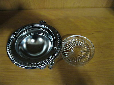 "Vintage Antique 5"" Diameter Silver Footed Covered Butter Dish Made In England"