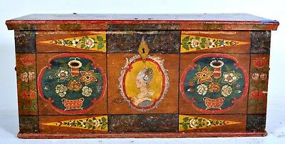 Antique German hand painted dowry marriage cabinet chest trunk folk art 1820