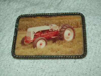 Ford 8N Farm Tractor Brass Photo Belt Buckle Ford Farm Equipment