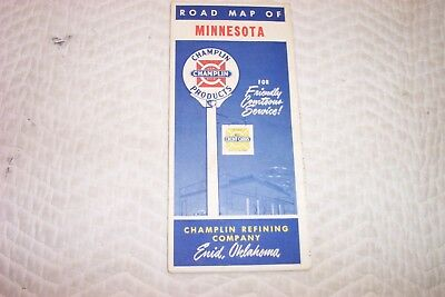 Vintage CHAMPLIN Advertising Road Map MINNESOTA 1950'S GOOD COND.
