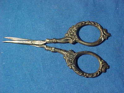 Early 20thc STERLING Silver 925 German SEWING SCISSORS w FLORAL Design
