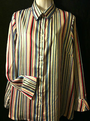Maternity Announcements Striped Long Sleeve Polyester Satin Dress Blouse Large