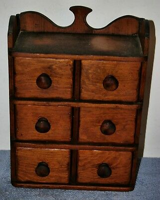 Vintage Antique 6 Drawer Miniature Wooden Wall Chest - Apothecary?