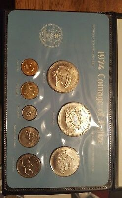 1974 Coinage of Belize Franklin Mint Bird 8 Coin Set