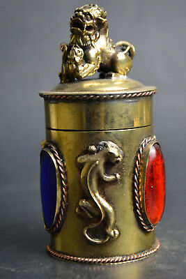 Collectible Old Copper Dragon Lion Exquiiste Noble Toothpick Box