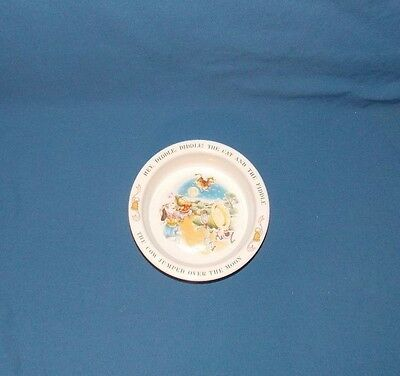 1984 Avon Child Kid Bowl Dish with Nursery Rhyme HEY, DIDDLE, DIDDLE