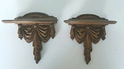 Pair Small Vintage Italian Gold Gilt Hand Carved Wood Wall Shelf Sconce