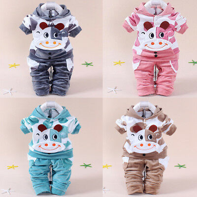 Kinder Mädchen Kleidung Warme Cartoon Baby Outfit Set Sweatshirt Top