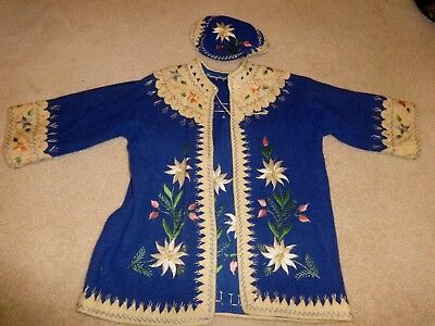 Vintage OLD Wool Embroidered German or Swiss Sweater & Hat