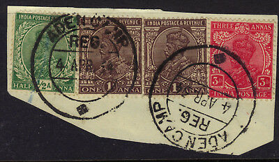 India Used ADEN CAMP REG Cancel/Postmark 4 stamps on Piece 1934 Scott CV $30