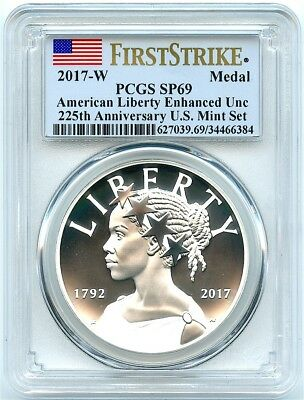 2017-W Enhanced Uncirculated Silver Liberty Medal, PCGS SP-69 First Strike!