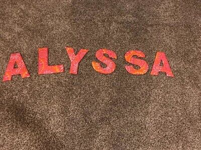 ALYSSA Letters For Bedroom Wall Cute! Orange Pink And White.
